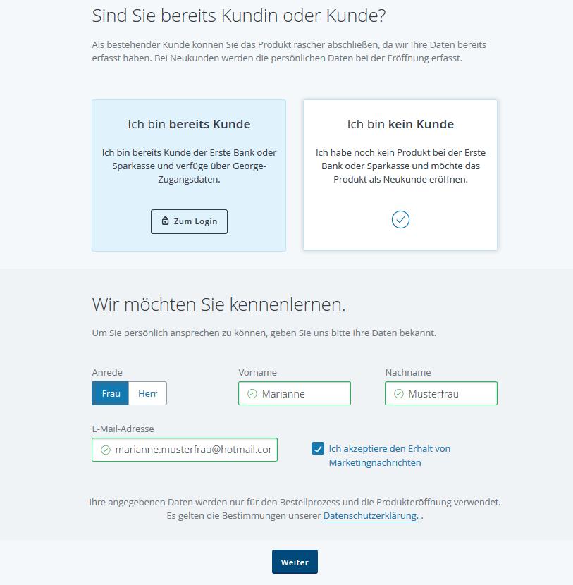 Erste Bank Klick Kredit Schritt 2