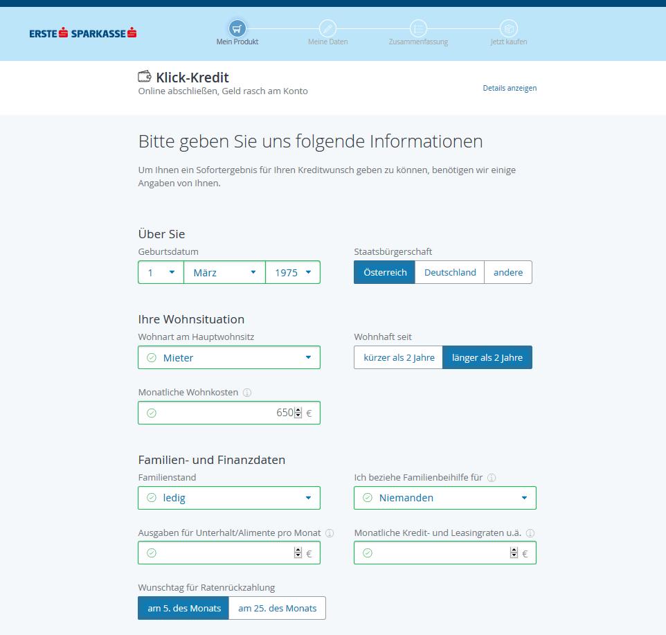 Erste Bank Klick Kredit Schritt 3