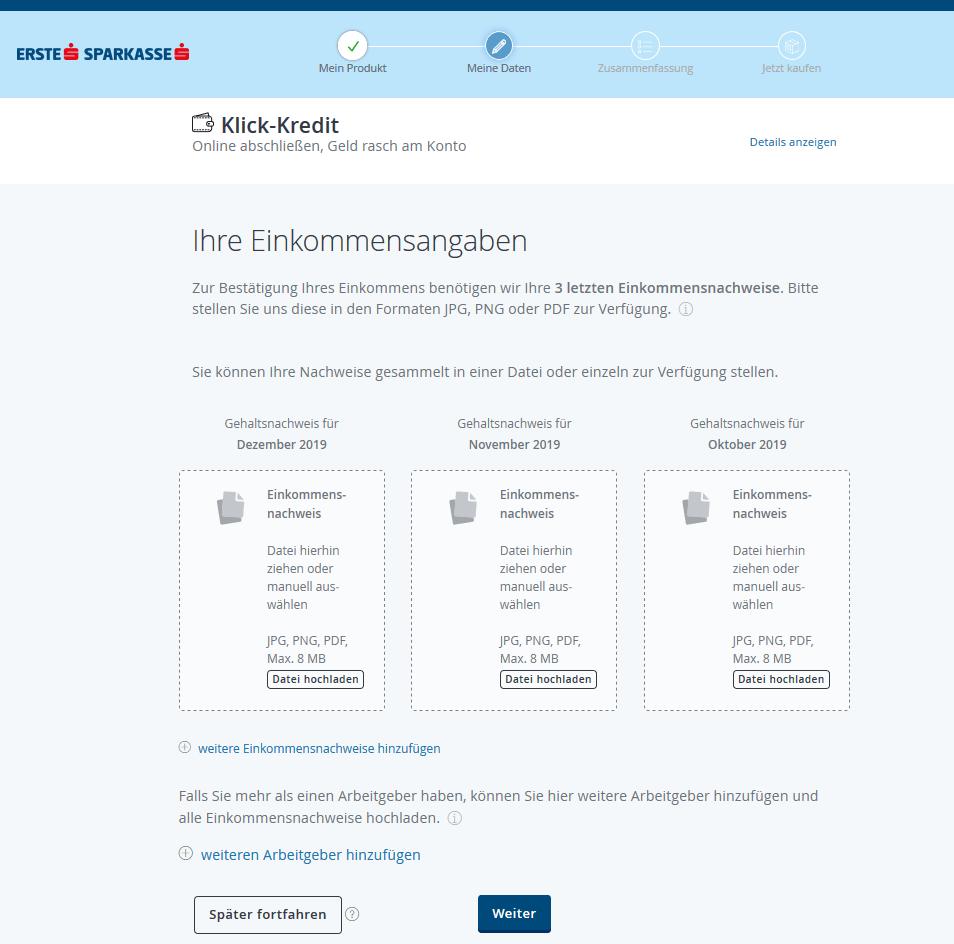 Erste Bank Klick Kredit Schritt 7
