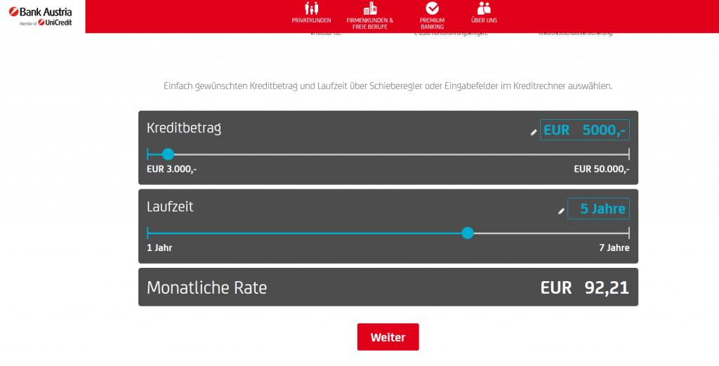 Kredit Beantragung Bank Austria Schritt 1