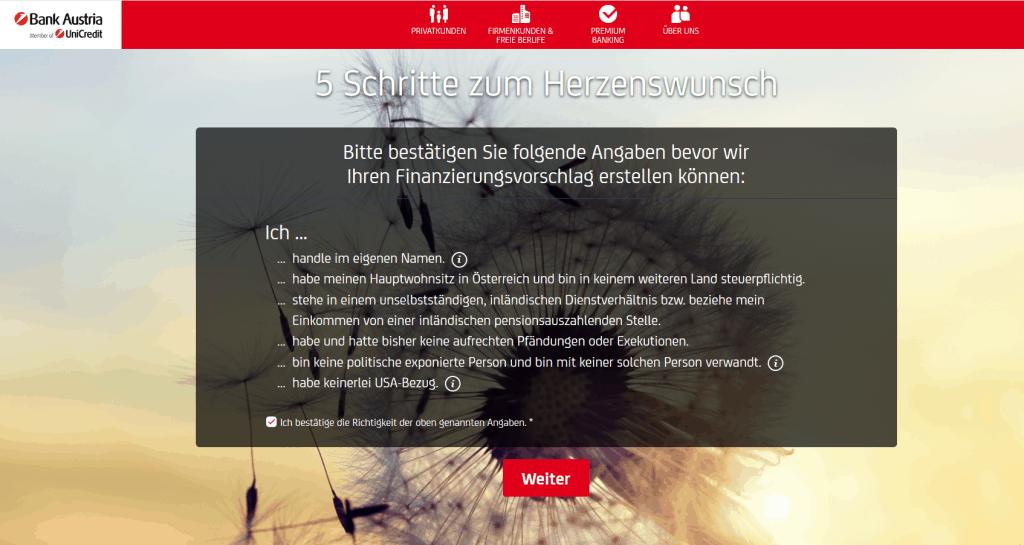 Kredit Beantragung Bank Austria Schritt 4
