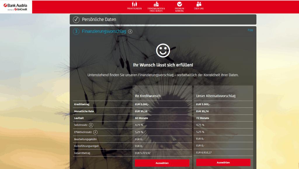 Kredit Beantragung Bank Austria Schritt 5