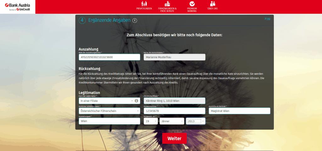 Kredit Beantragung Bank Austria Schritt 6