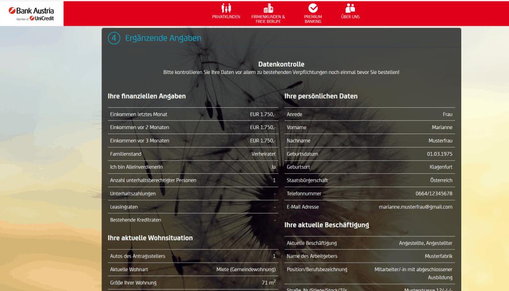 Kredit Beantragung Bank Austria Schritt 7