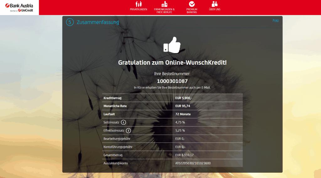 Kredit Beantragung Bank Austria Schritt 8
