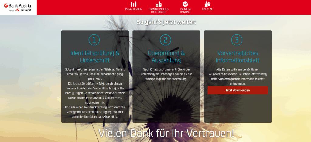 Kredit Beantragung Bank Austria Schritt 9
