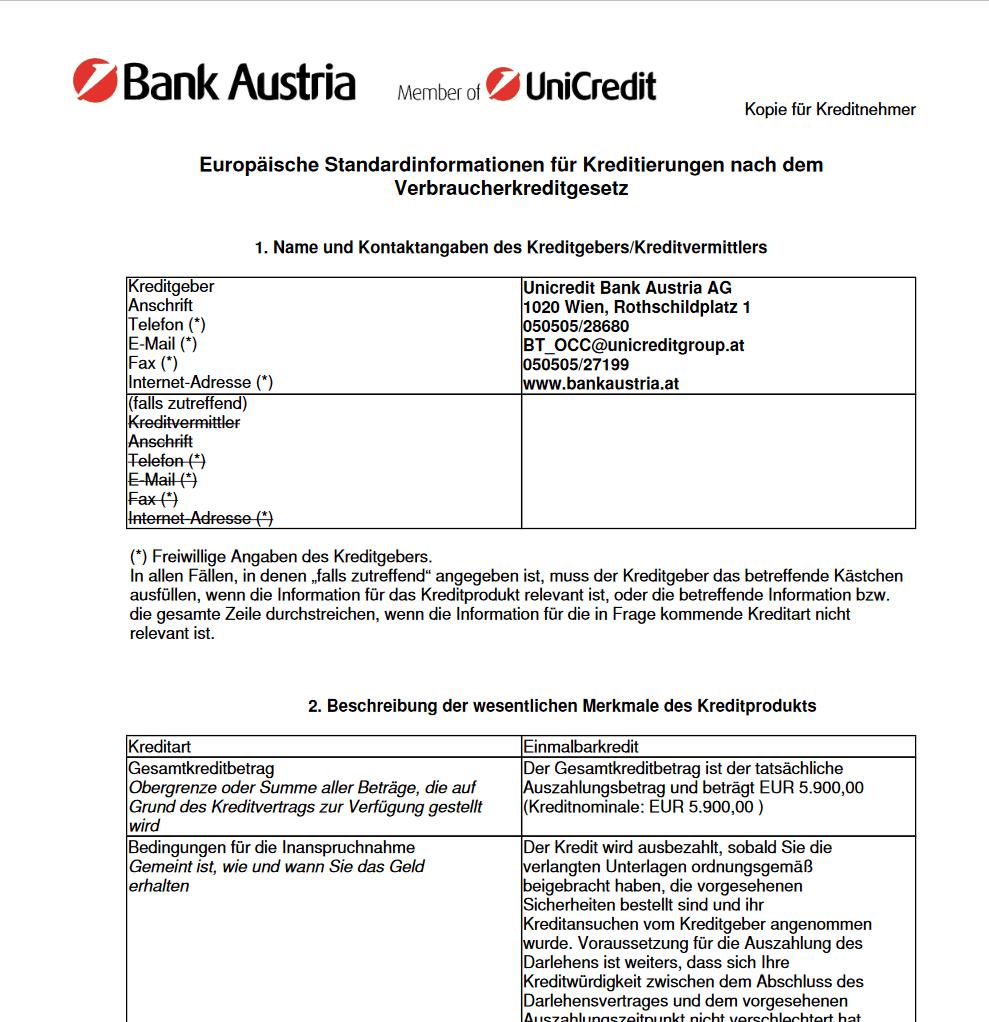 Kredit Beantragung Bank Austria Kreditvertrag